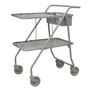 Vintage Folding Industrial Painted Metal Rolling Shop Grocery Trolley