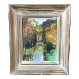 Vintage Framed Fall Park Scene Watercolor