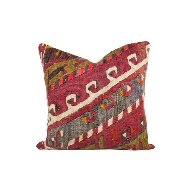 Ethnic Patterned Turkish Kilim Pillow - Image 1 of 3