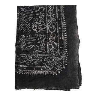 Antique Asian Ink Charcoal Cotton Batik Textile