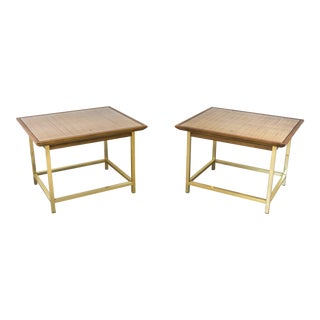 Brass, Cane and Walnut End Tables by Kipp Stewart for Drexel