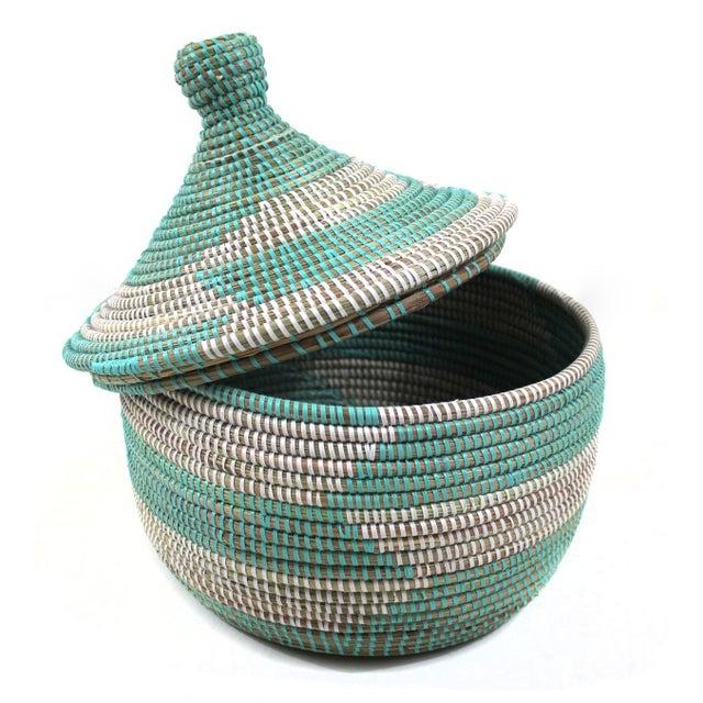 Vintage Aqua Senegal Basket - Image 1 of 3