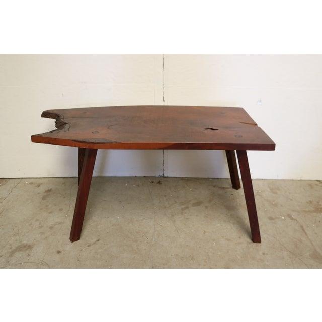 Inscribed Handmade Live Edge Coffee Table - Image 3 of 8