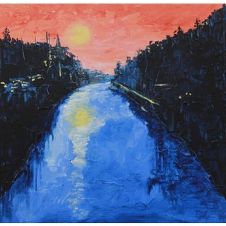 "C. Plowden ""Twilight, River Liffey"" Painting"