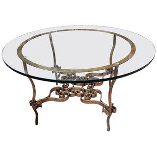 Italian Gilt Metal & Glass Round Table
