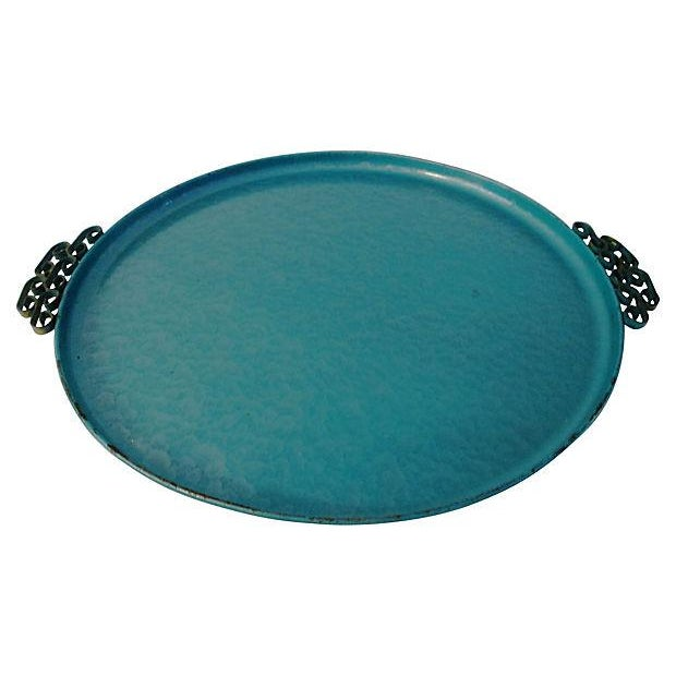 Image of Midcentury Kyes Moiré Caribbean Green Tray