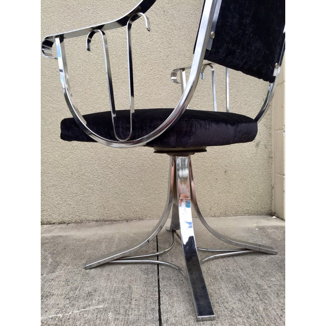 Image of Mid-Century Chrome Swivel Chairs- Set of 6
