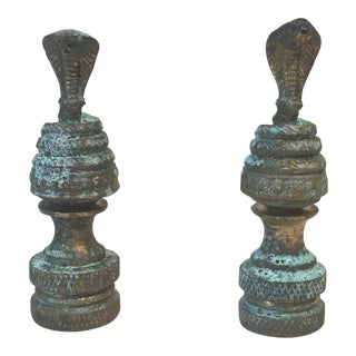Brass Cobra Snake Lamp Finials - A Pair