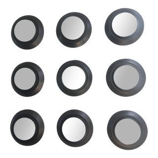 Industrial Circular Metal Wall Mirrors- Set of 9