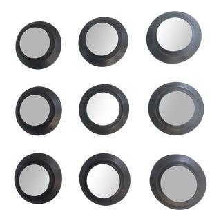 Industrial Circular Metal Wall Mirrors- Set of 9