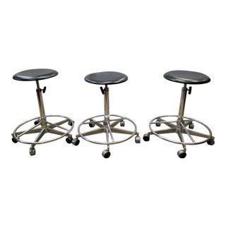 Industrial Adjustable Metal Rolling Stools - Set of 3