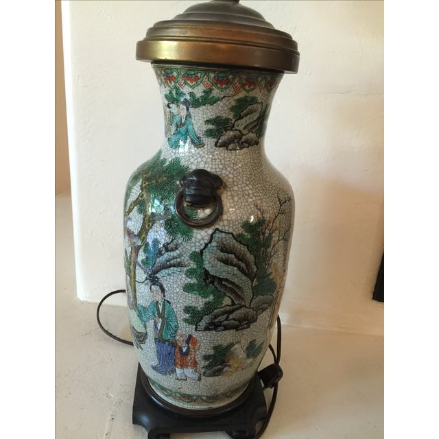 Vintage Asian Table Lamp With Wooden Base - Image 5 of 11