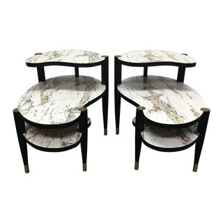 Mid-Century Faux Marble Top Side Tables - A Pair