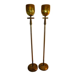 Stieff Company Distressed Art Deco Brass Vintage Floor Lamps