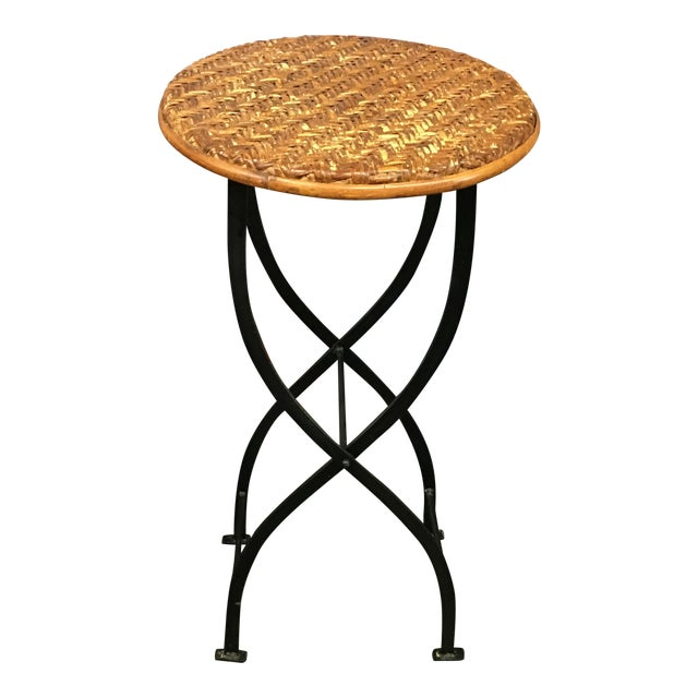 Folding Caning amp Iron Side Table Chairish