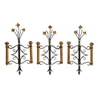 Adjustable Wrought Iron Candle Sconces with Floral Details - Set of 3