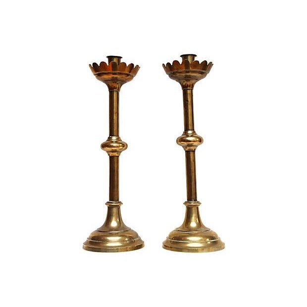 Image of Tall Lotus Blossom Candlesticks - A Pair