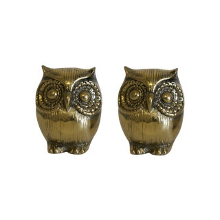 Brass Owl Figurines - Pair