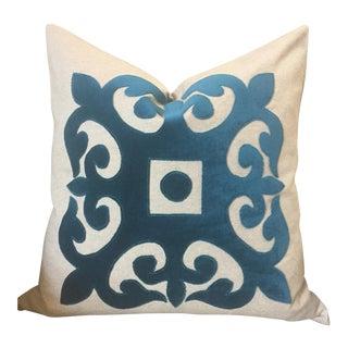 Aqua Velvet Applique Pillow Cover