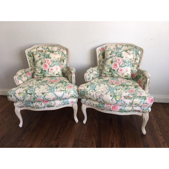 Shabby Chic Floral Bergere Chairs - A Pair - Image 2 of 11