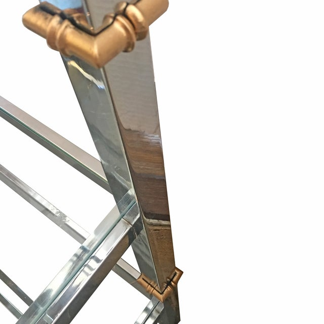 Chrome Etagere with Gold Faux Bamboo Accents - Image 2 of 4