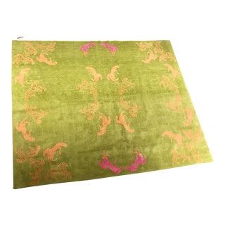 """Hand-Knotted Tibetan Wool/ Silk Tibetan Rug - 81.5""""W x 99""""D"""