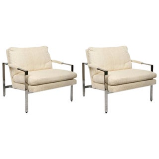Milo Baughman for Thayer Coggin Mid-Century Modern Pair of Chrome Lounge Chairs