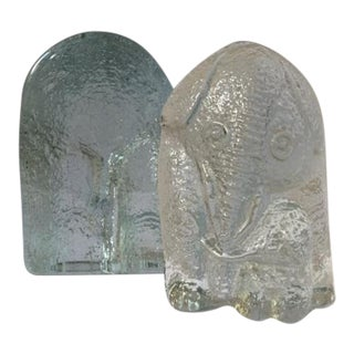 Vintage Blenko Elephant & Baby Glass Bookends - A Pair