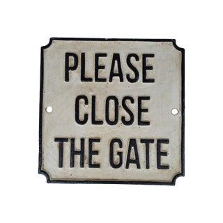 Cast Iron Please Close Gate Sign