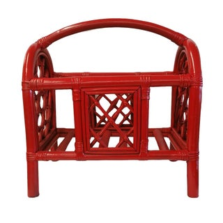 Hollywood Regency Red Lacquer Bamboo Magazine Rack