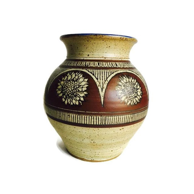 Image of Tall Earthenware Vintage Pottery Vase, Signed