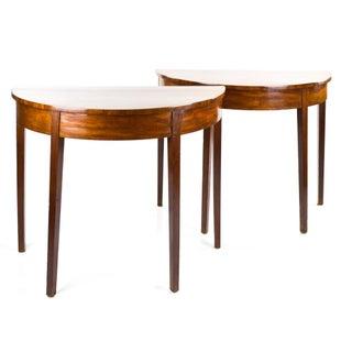Antique Mahogany Demilune Console Tables - a Pair