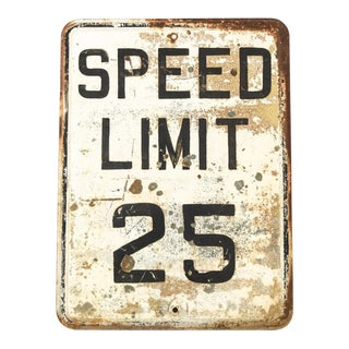 Vintage Industrial Embossed Speed Limit 25 Traffic Sign, 24 X 18