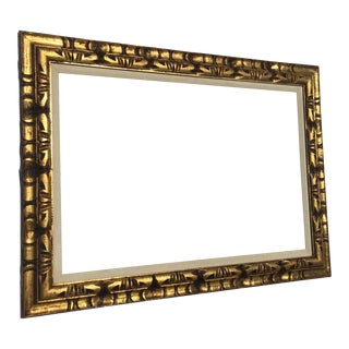 Massive Mid-Century Modernist Gold Carved Wood Frame