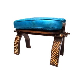 Turquoise Moroccan Leather Footstool