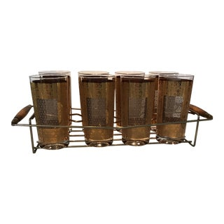 Vintage 22k Gold Pasinski Cocktail Glasses - 9 Pieces