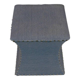 Blue & Grey Stool With Nailheads