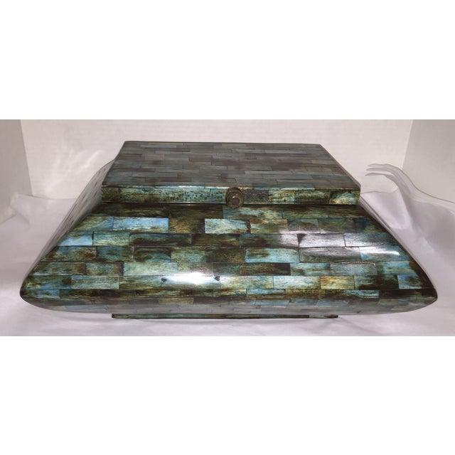 Rare Mid-Century Large Aqua Blue Tessellated Wood Box - Image 2 of 9