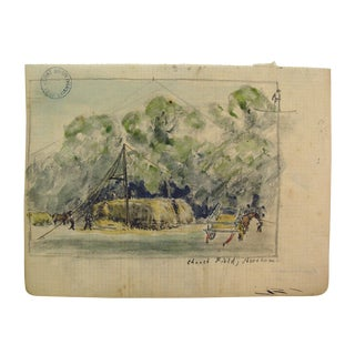 English Farm Watercolor Study by Franklin White