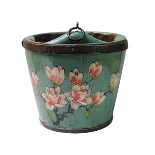 Chinese Flowers Painted Wood Bucket