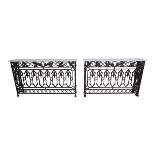 Pair of 19th Century French Wrought Iron Consoles w/ Carrera Marble Tops