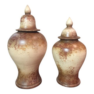 Rustic Old World Urns - A Pair