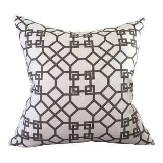 Windsor Smith Archipelagos Graphic Trellis Grey and White Pillow
