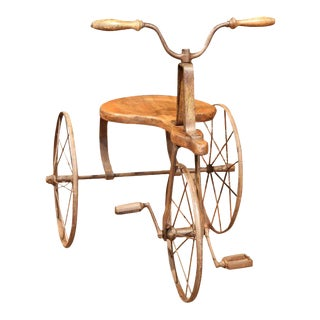 19th Century French Iron & Wood Tricycle