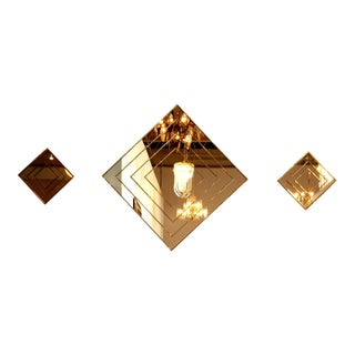 Gold Tone Multi-Border Set of Three Diamond Shaped Mirrors