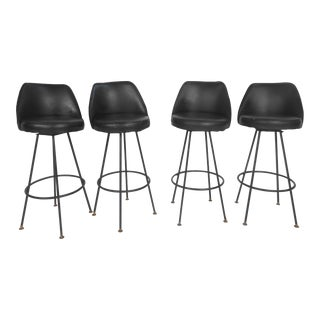 Mid-Century Black Bar Stools - Set of 4
