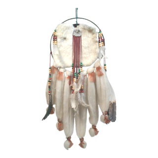 Native American Dream Catcher Fur, Wool and Feather Wall Hanging