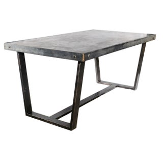 Custom Concrete and Steel Dining Table