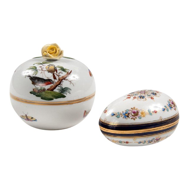 Meissen & Herend Continental Porcelain Boxes - A Pair - Image 1 of 3