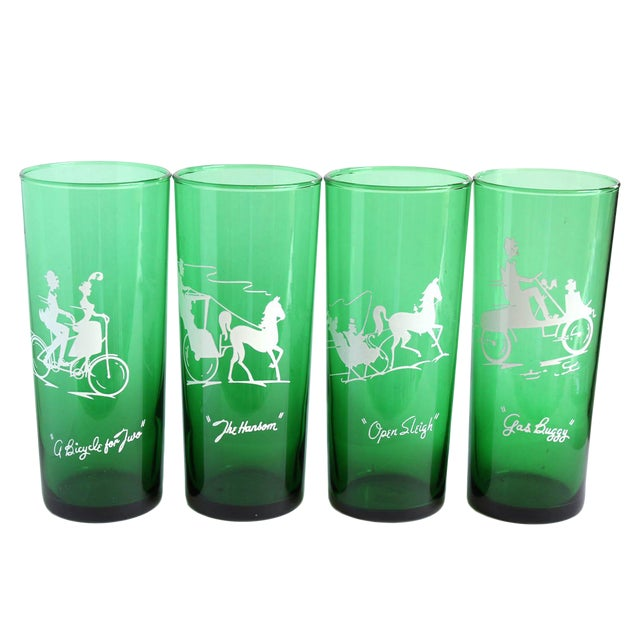 Image of Vintage Green Drinking Glasses- Set of 4
